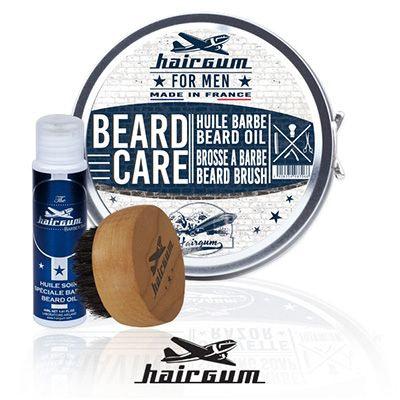 Hairgum Beard Care komplekt sisaldab Hairgumi habemeõli ja habemeharja